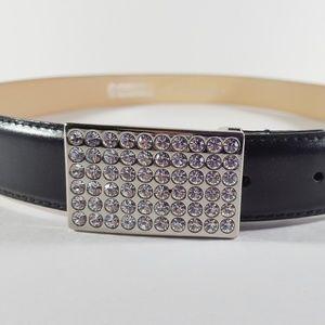 Christine Alexander Black Leather Swarovski Belt L